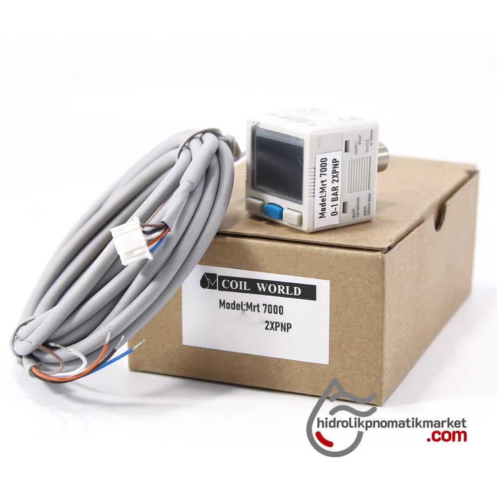 Dijital Basınç Sensörü MRT7000 2xPNP+Analog çıkışı  4-20mA -1*10 Bar 12-24V DC 1/8