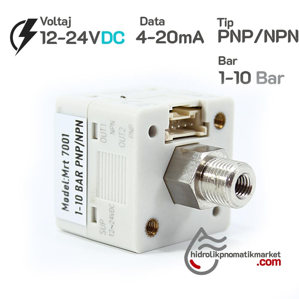 Dijital Basınç Sensörü MRT7001 1xPNP 1XNPN 4-20mA 0/+10 Bar 12-24V DC 1/8
