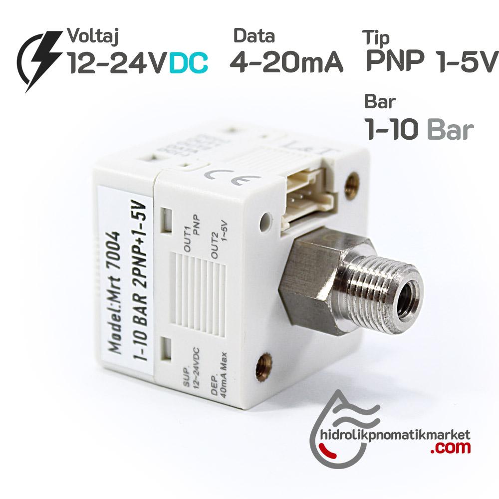 Dijital Basınç Sensörü MRT7004 1xPNP 1X1,5V 4-20mA -1*10 Bar 12-24V DC 1/8