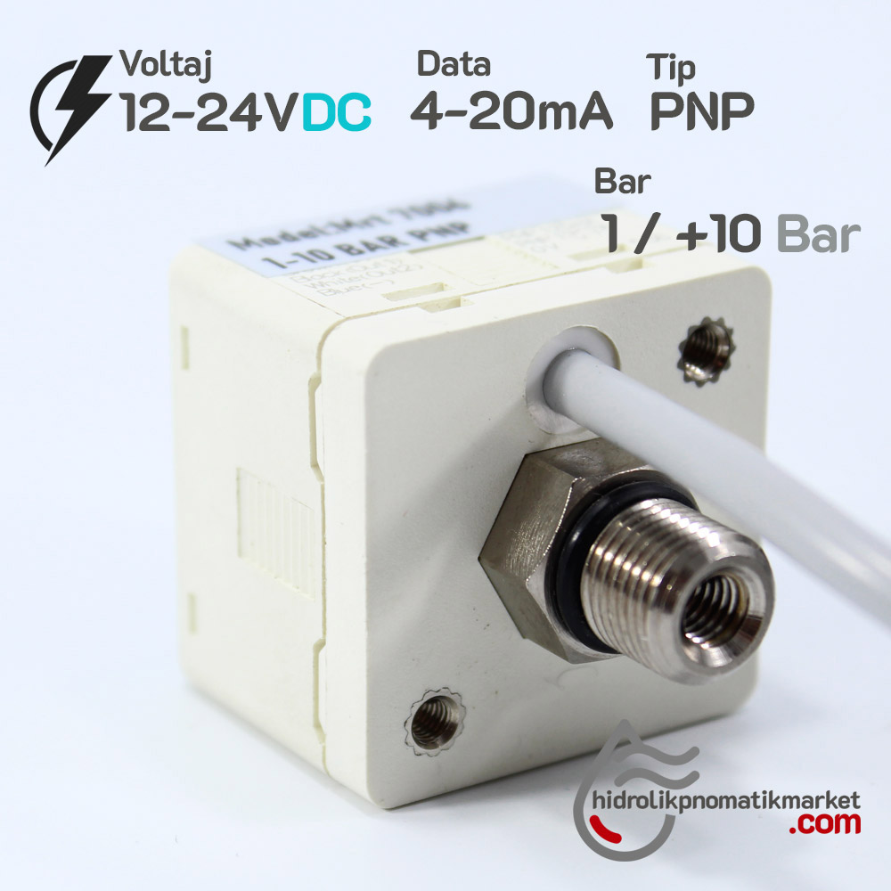 Dijital Basınç Sensörü MRT7006 2xPNP 4-20mA 1/+10 Bar 12-24V DC 1/8