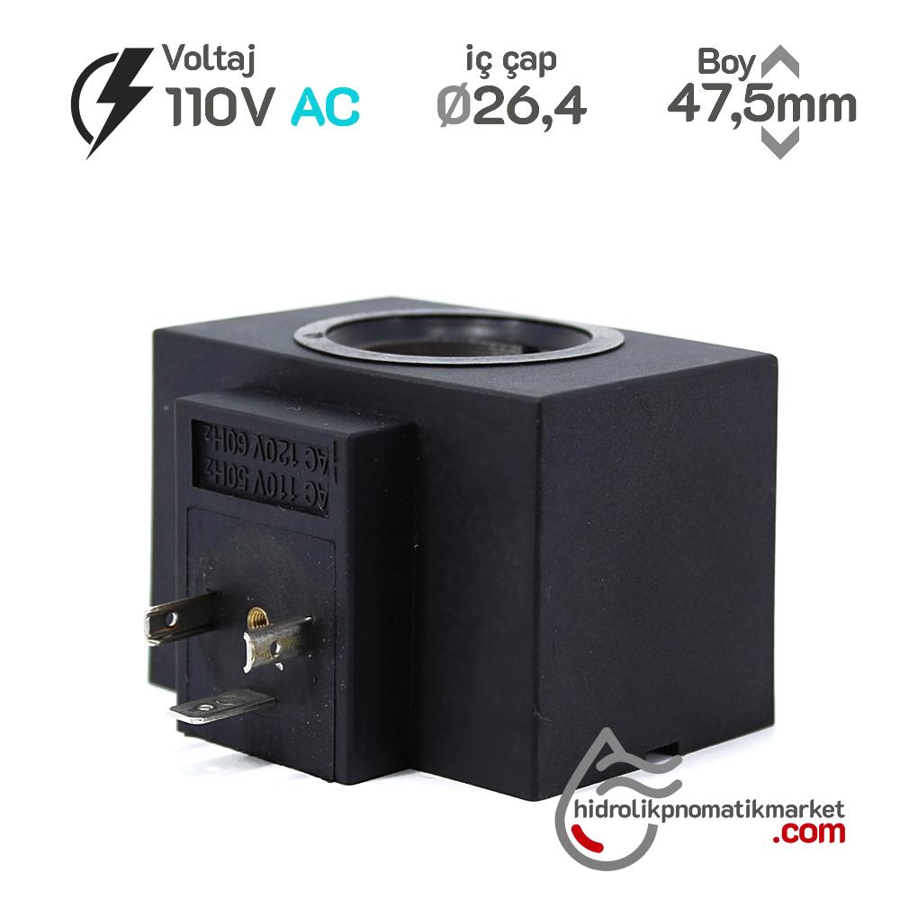 MRT 4344 110V AC Hidrolik Bobin İç Çap 26,4mm x Boy 47mm - DIN 43650 hystar yuken bobin