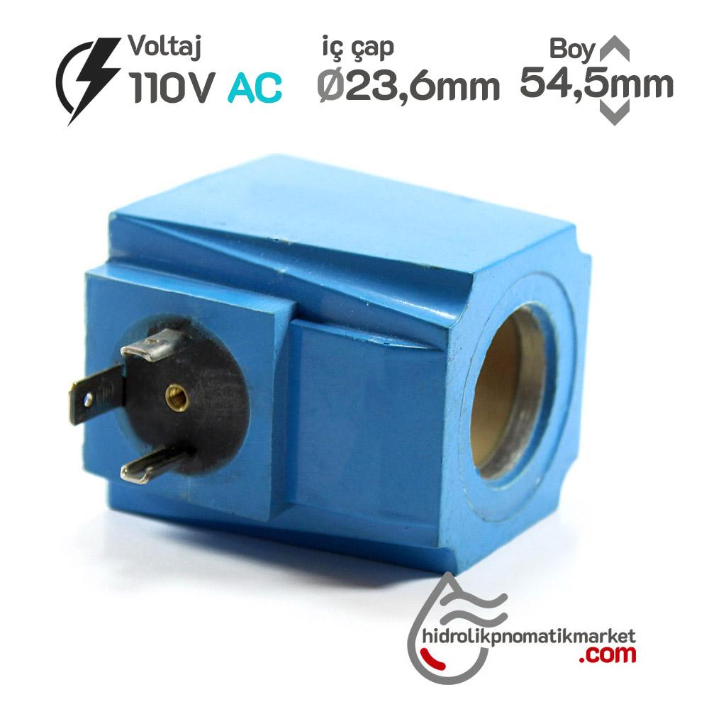 MRT 4350 110V AC Hidrolik Valf Bobini İç Çap 23,6mm x Boy 54,5mm - DIN 43650