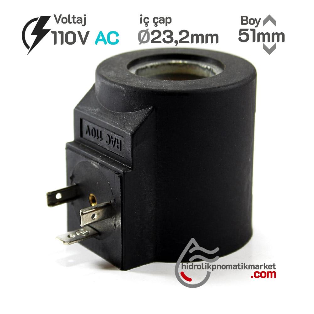 MRT 4354 110V AC Hidrolik Valf Bobini İç Çap 23,2mm x Boy 51mm - DIN 43650