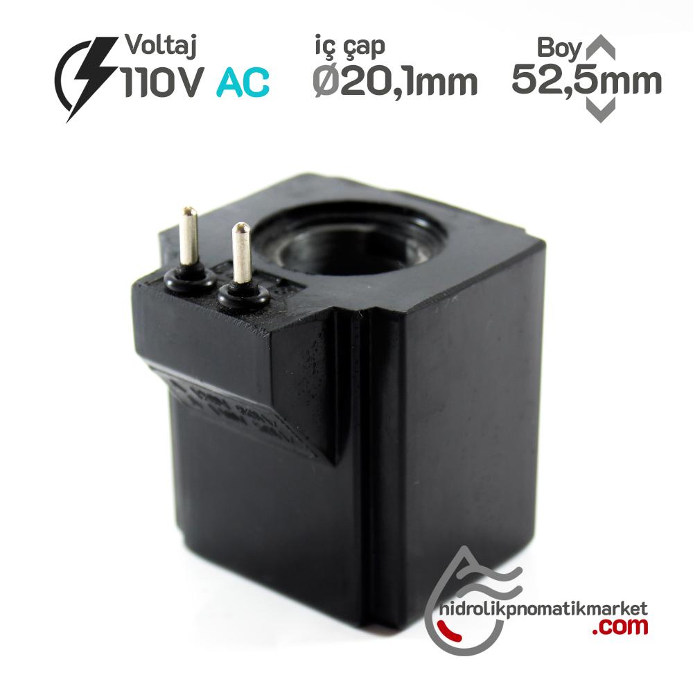 MRT 4363P 110V AC Hidrolik Valf Bobini İç Çap 20,1mm x Boy 52,5mm - Pimli