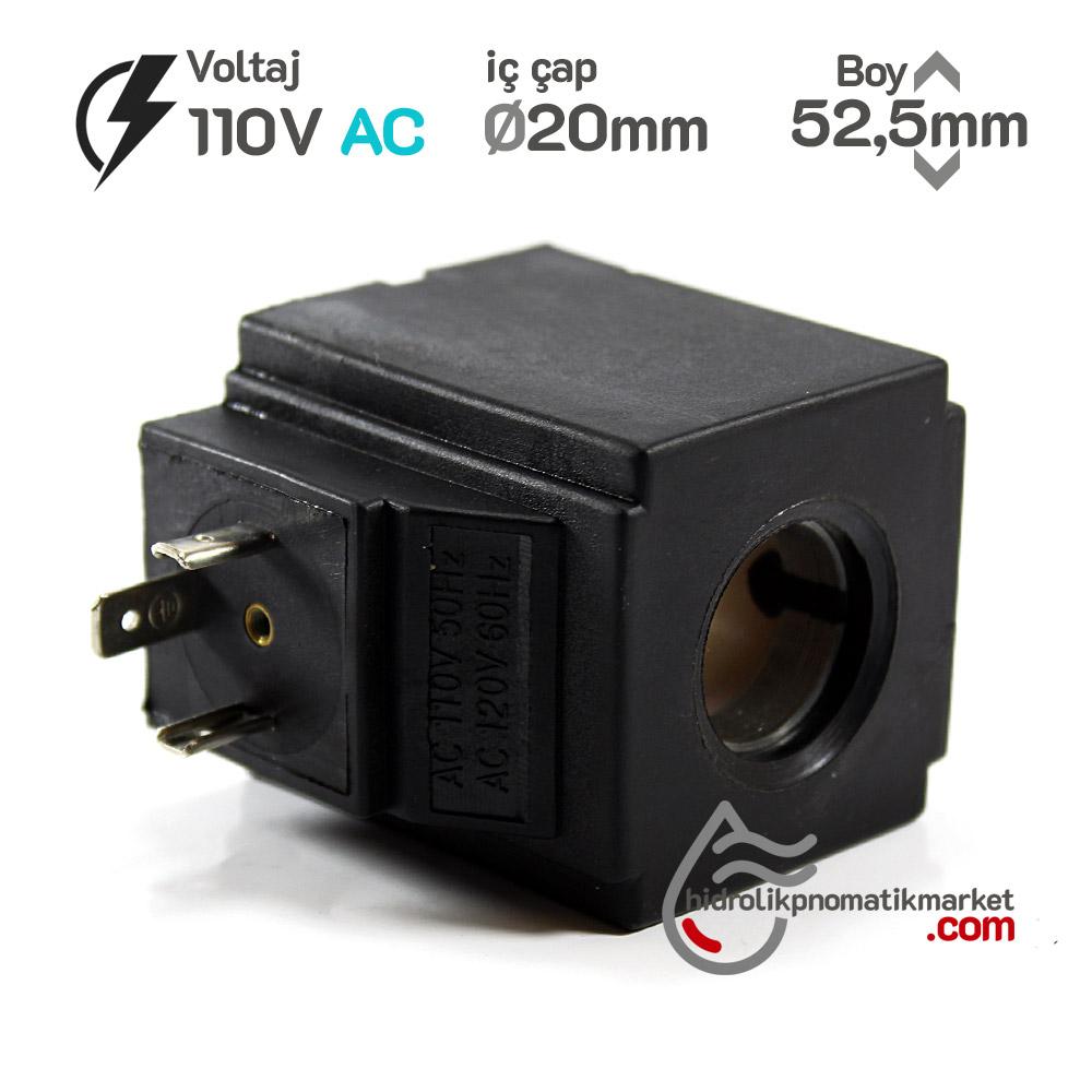 MRT 4363 110V AC Hidrolik Valf Bobini İç Çap 20mm x Boy 52,5mm - DIN 43650