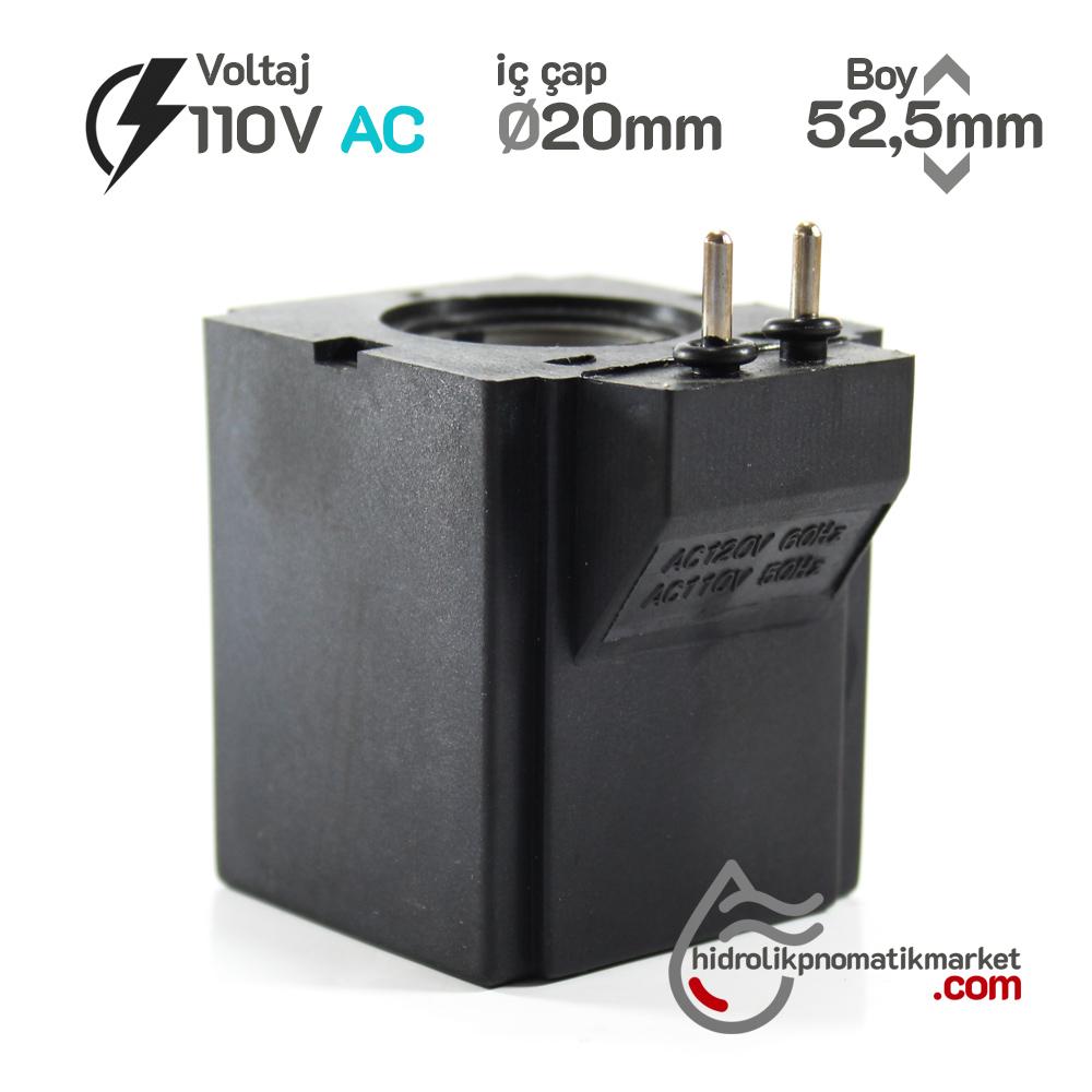 MRT 4364P 110V AC Hidrolik Valf Bobini İç Çap 20mm x Boy 52,5mm - Pimli