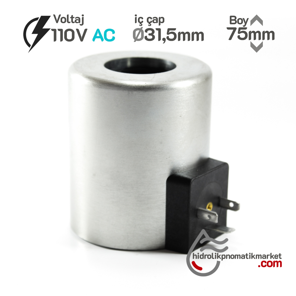 MRT 4379 110V AC Hidrolik Bobin İç Çap 31,5mm x Boy 75mm - DIN 43650
