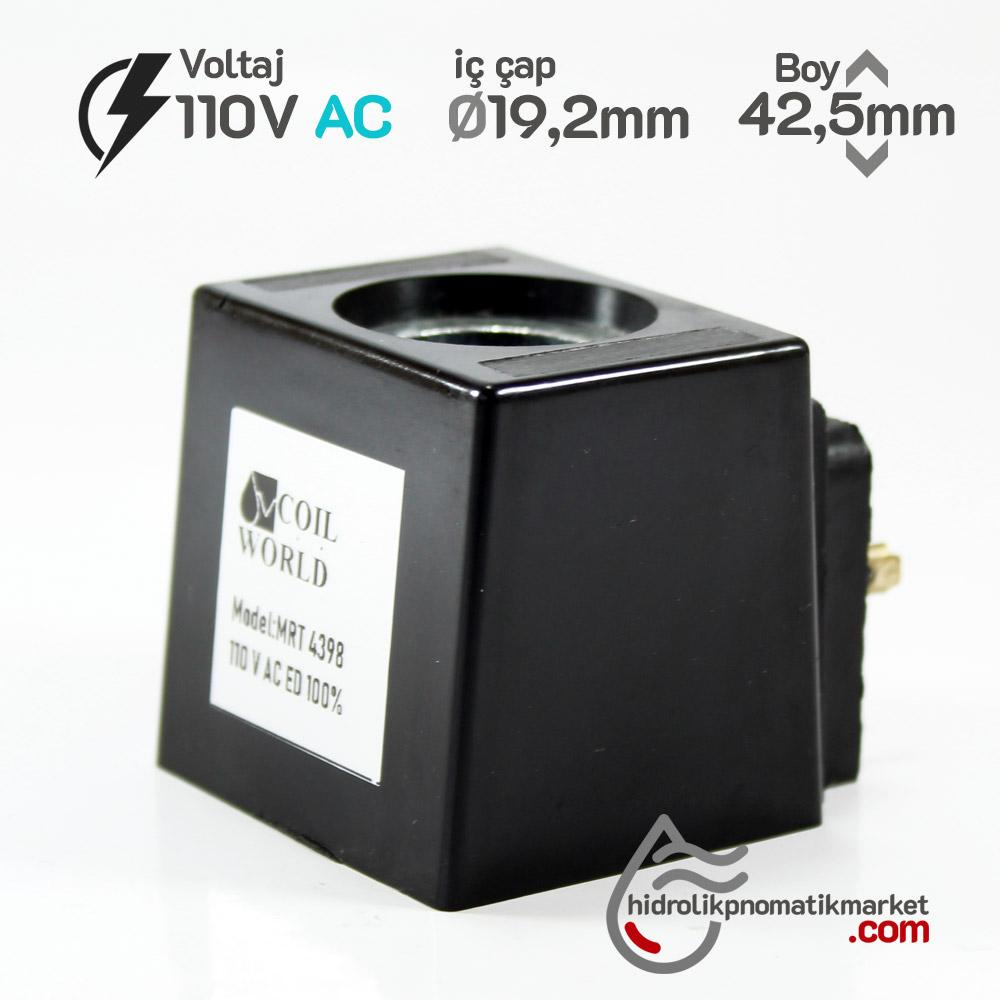 MRT 4398 110V AC Hidrolik Bobini İç Çap 19,2mm x Boy 42,5mm - Soket 43650