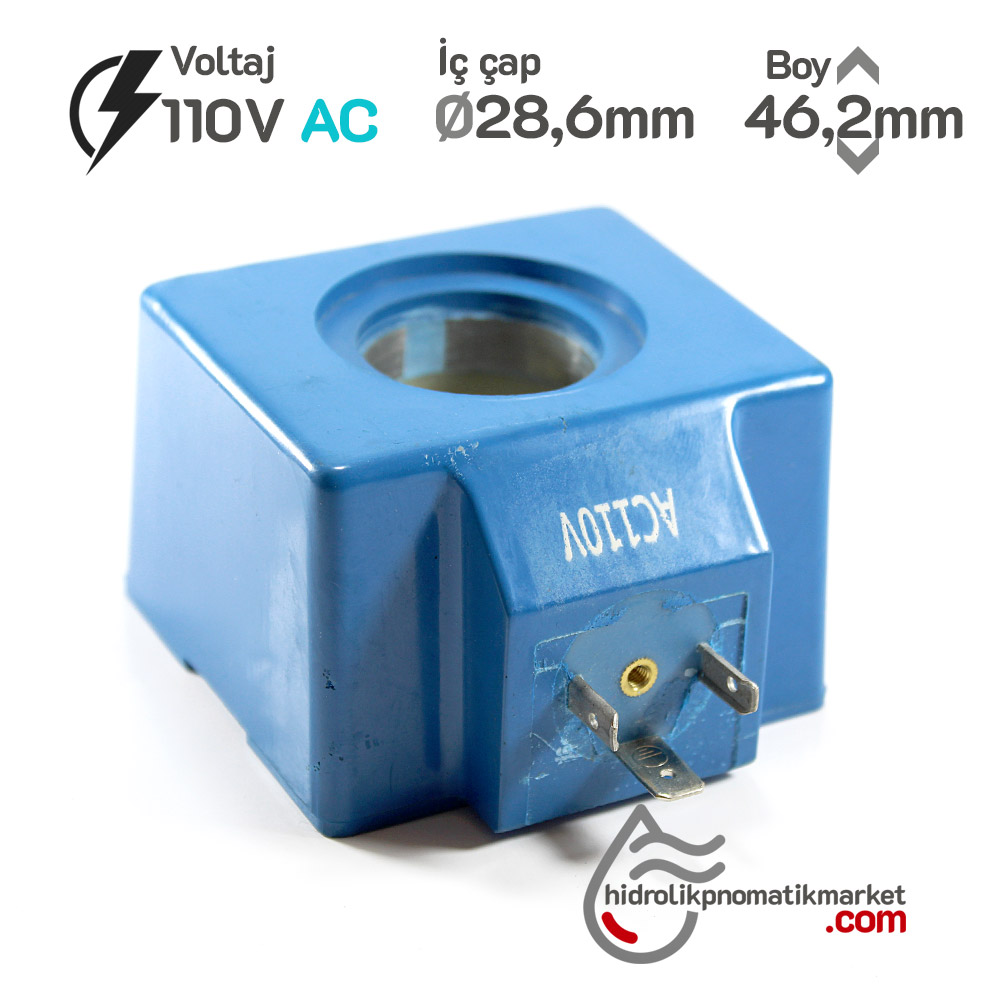 MRT 4400 110V AC Hidrolik Bobini İç Çap 28,6mm x Boy 46,2mm - Soket 43650