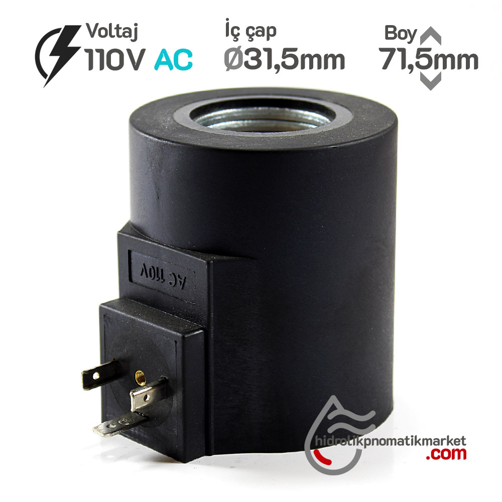 MRT 4418 110V AC Hidrolik Valf Bobini İç Çap 31,5mm x Boy 71,5mm - DIN 43650