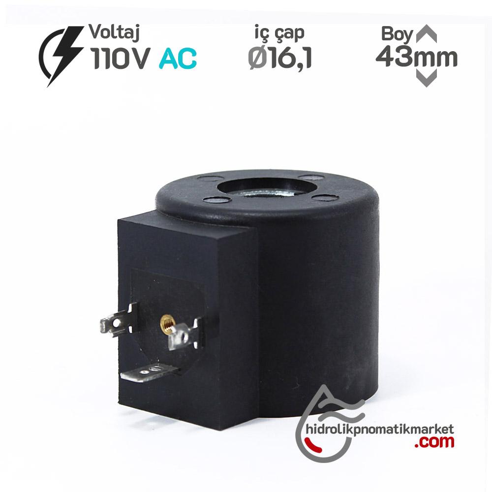 MRT 4445 110V AC Hidrolik Bobin İç Çap 16,1mm x Boy 43mm - DIN 43650 crox bobin valf caproni bobin