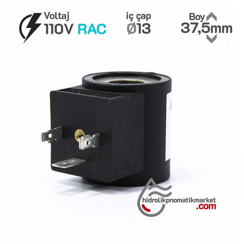 MRT 4104 110V RAC Hidrolik Valf Bobini İç Çap 13mm x Boy 37,5mm - DIN 43650