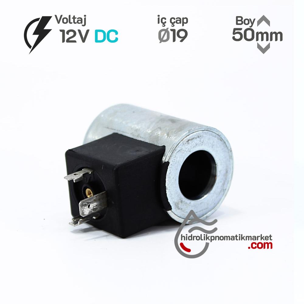 MRT 4369 12V DC Hidrolik Valf Bobini İç Çap 19mm x Boy 50mm - DIN 43650 walvoil