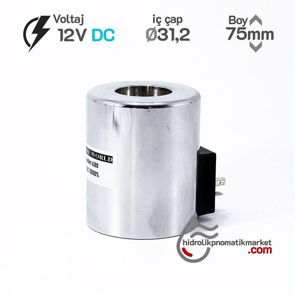 MRT 4380 12V DC Hidrolik Bobin İç Çap 31,2mm x Boy 75mm - DIN 43650 hydro-pack