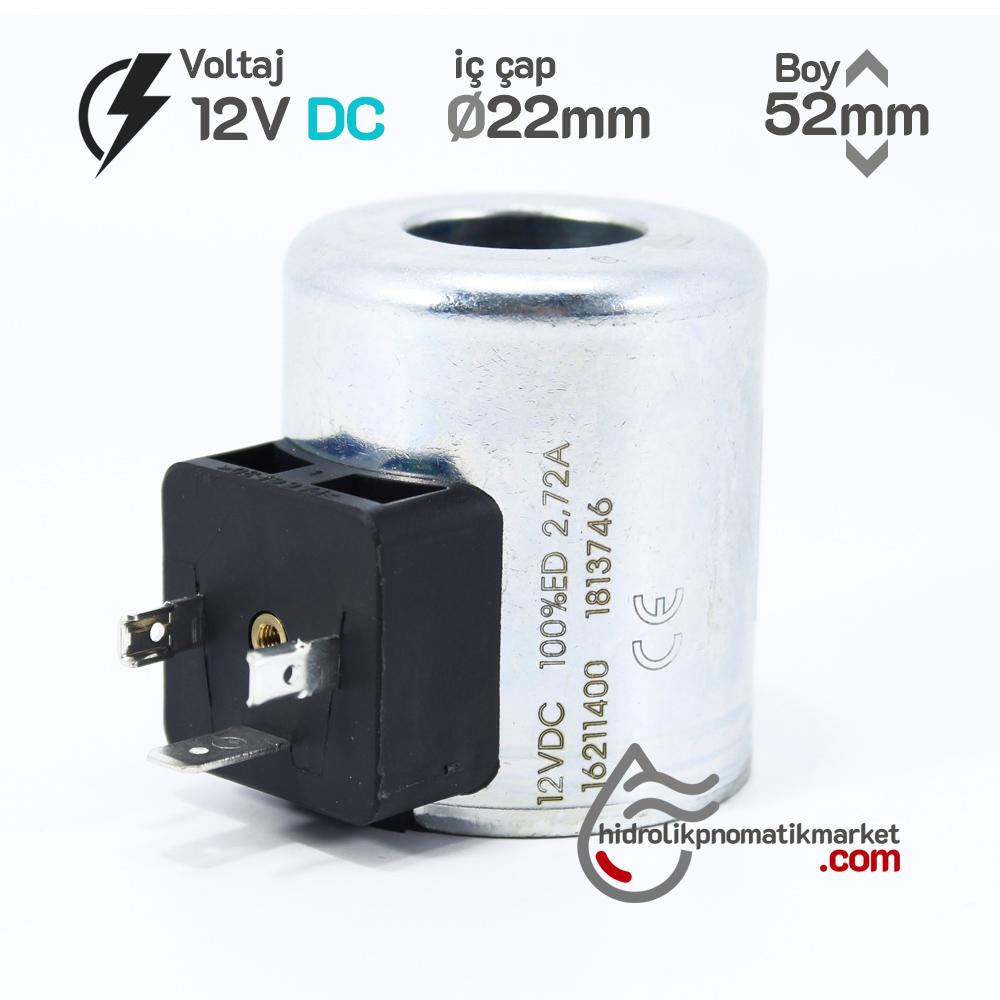 Coil World MRT 4392 12V DC Hidrolik Valf Bobini İç Çap 22mm x Boy 52mm - DIN 43650