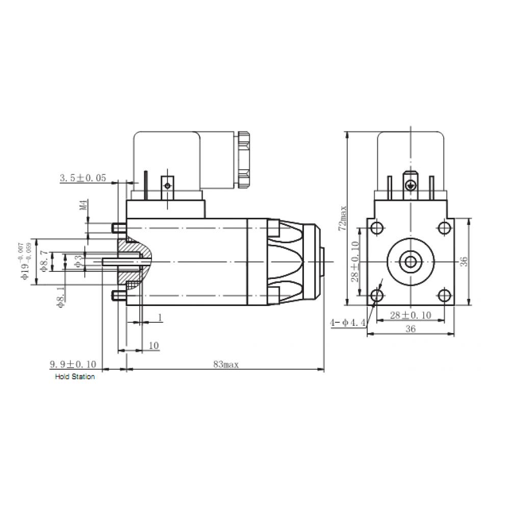 MRT 4403 12V DC Vidalı Hidrolik Valf Bobini vida delik merkezi 28x28mm kare 36x36mm - DIN 43650