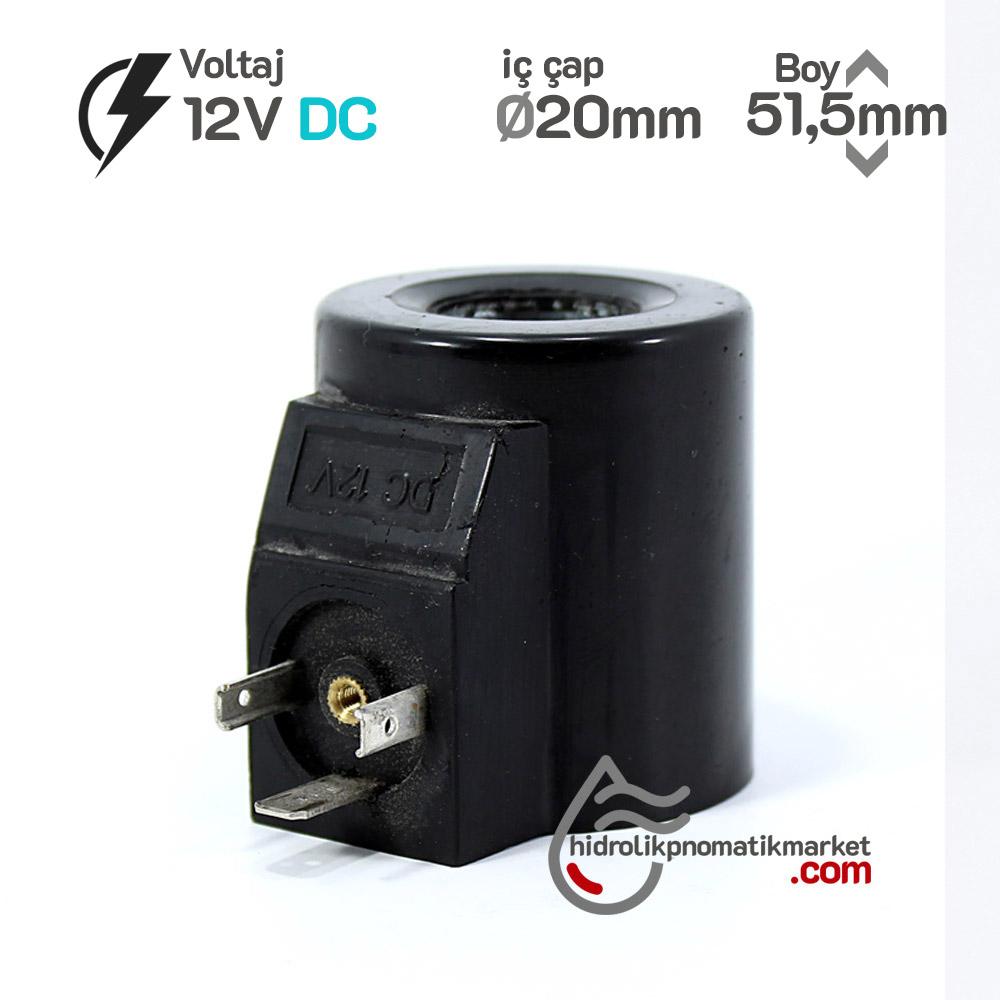 MRT 4467 12V DC Hidrolik Valf Bobini İç Çap 20mm x Boy 51,5mm - DIN 43650