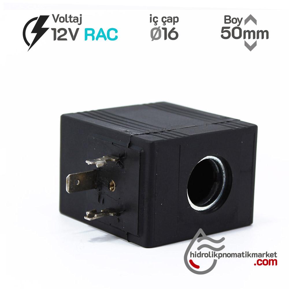 MRT 4437 12V RAC Hidrolik Valf Bobini İç Çap 16mm x Boy 50mm - DIN 43650 ARON