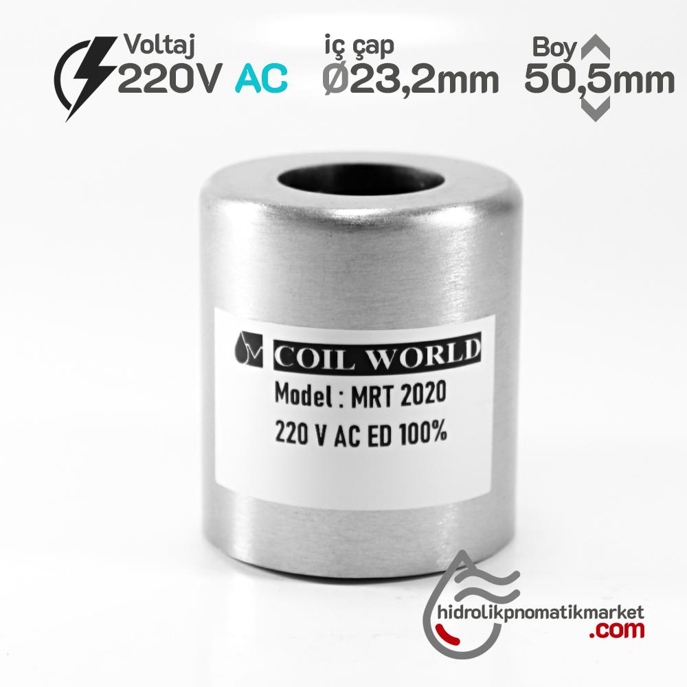 MRT 2020 220V AC Hidrolik Valf Bobini İç Çap 23,2mm x Boy 50,5mm - DIN 43650