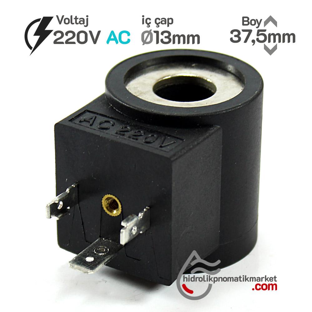 MRT 4104 220V AC Hidrolik Valf Bobini İç Çap 13mm x Boy 37,5mm - DIN 43650