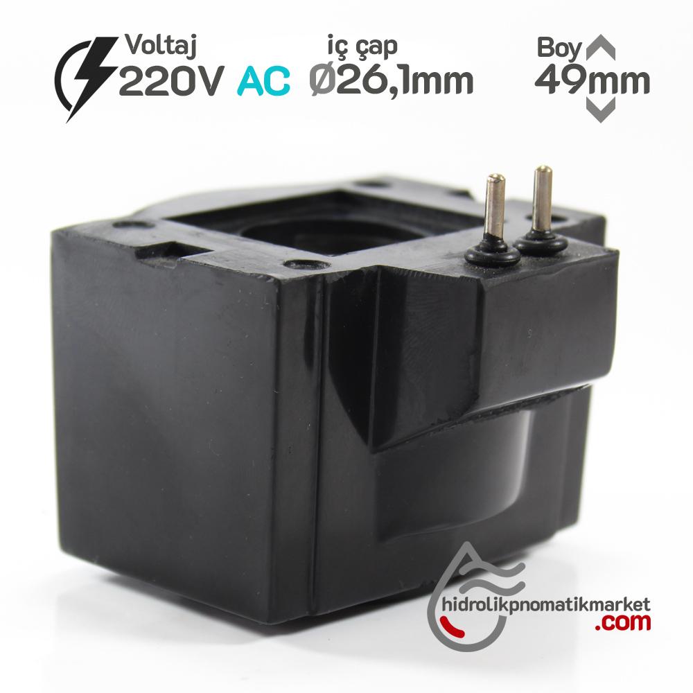 MRT 4342 220V AC Hidrolik Valf Bobini İç Çap 26,1mm x Boy 49mm - Pimli