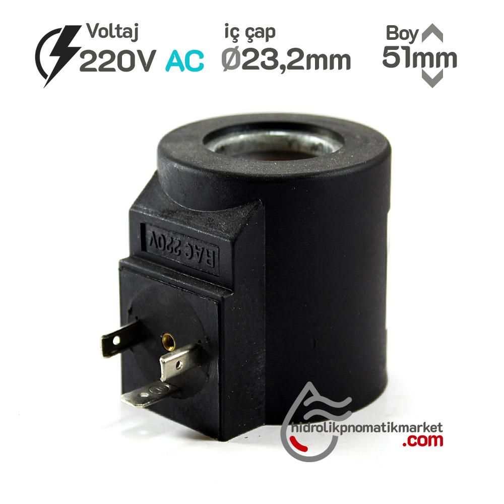 MRT 4354 220V AC Hidrolik Valf Bobini İç Çap 23,2mm x Boy 51mm - DIN 43650