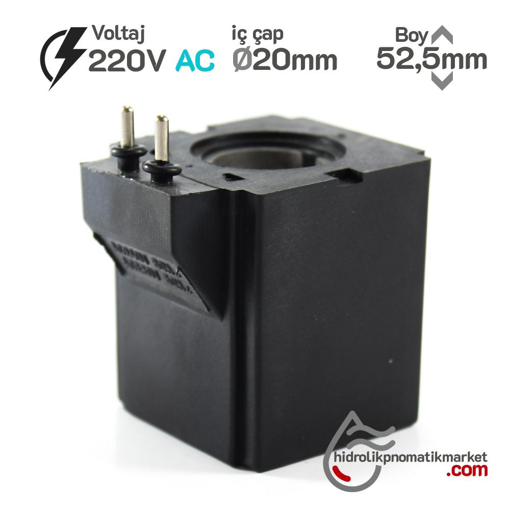 MRT 4364P 220V AC Hidrolik Valf Bobini İç Çap 20mm x Boy 52,5mm - Pimli
