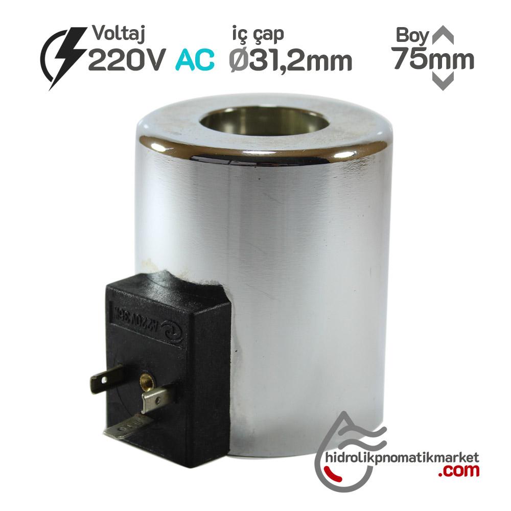 MRT 4380 220V AC Hidrolik Valf Bobini İç Çap 31,2mm x Boy 75mm - DIN 43650