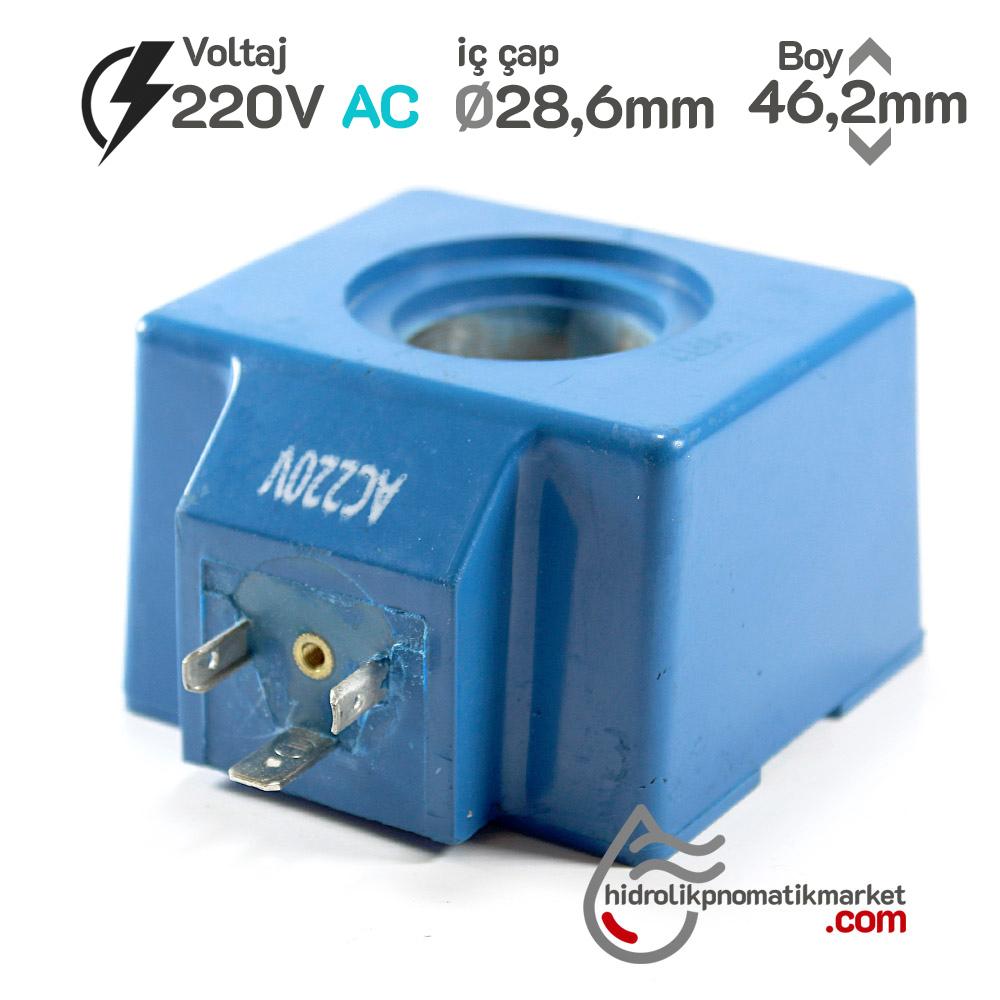 MRT 4400 220V AC Hidrolik Bobini İç Çap 28,6mm x Boy 46,2mm - Soket 43650