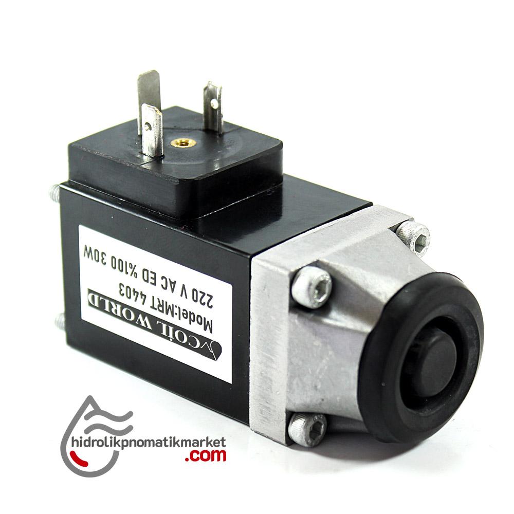 MRT 4403 220V AC Vidalı Hidrolik Valf Bobini İç Çap 28mm x 35x35mm - DIN 43650