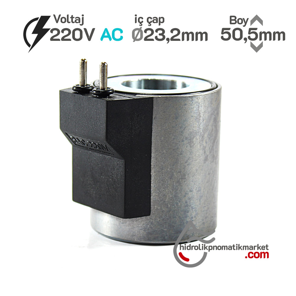 MRT 4426-P 220V AC Pimli Hidrolik Valf Bobini Metal İç Çap 23,2mm x Boy 50,5mm - PİMLİ