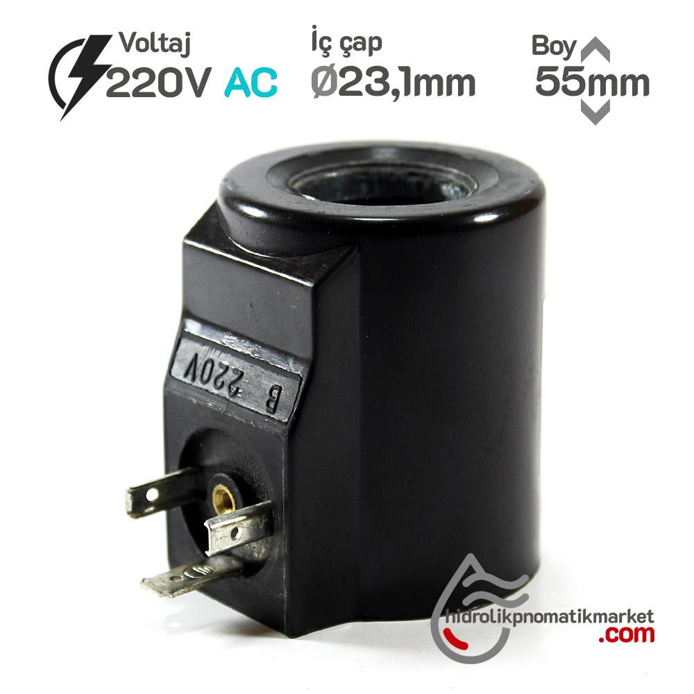 MRT 4429 220V AC Hidrolik Bobin İç Çap 23,1mm x Boy 55mm - DIN 43650