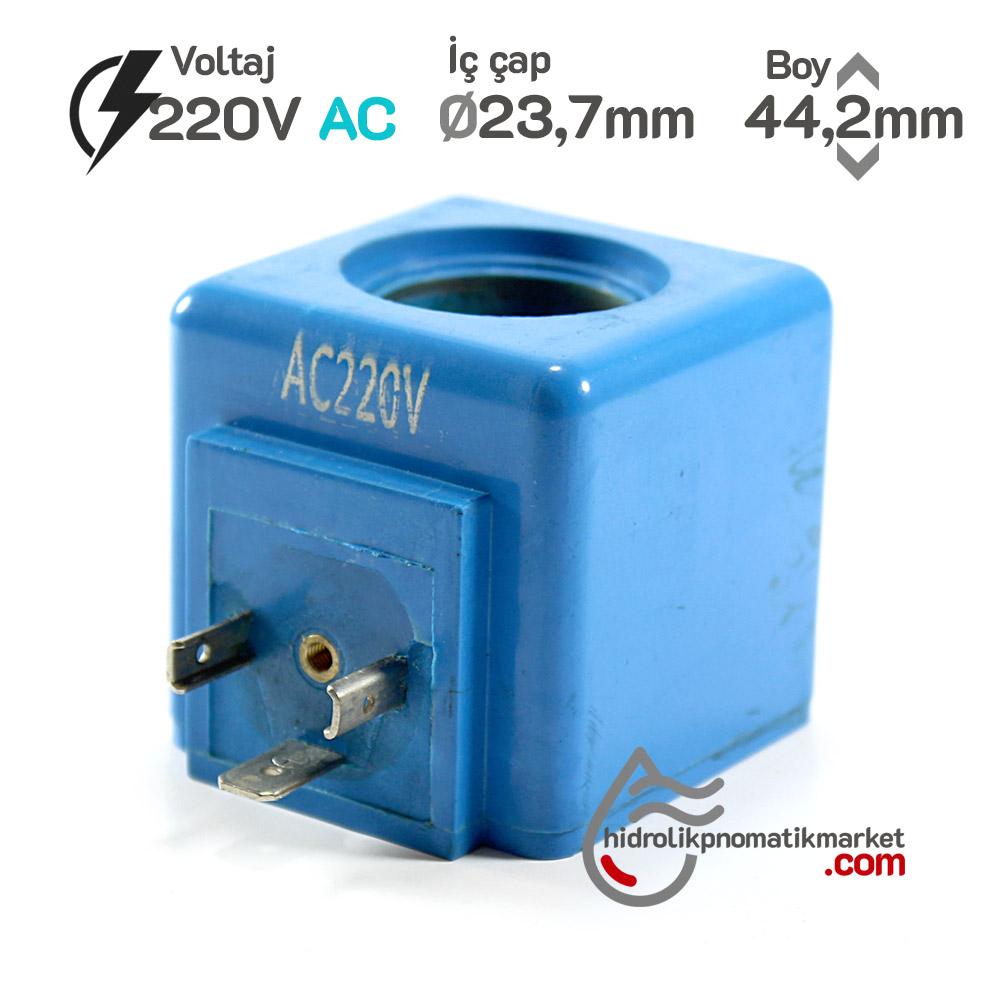MRT 4434 220V AC Hidrolik Valf Bobini İç Çap 23,7mm x Boy 44,2mm - DIN 43650
