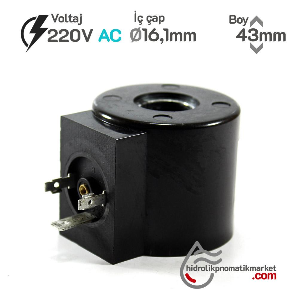 MRT 4445 220V AC Hidrolik Valf Bobini İç Çap 16,1mm x Boy 43mm - Soketli