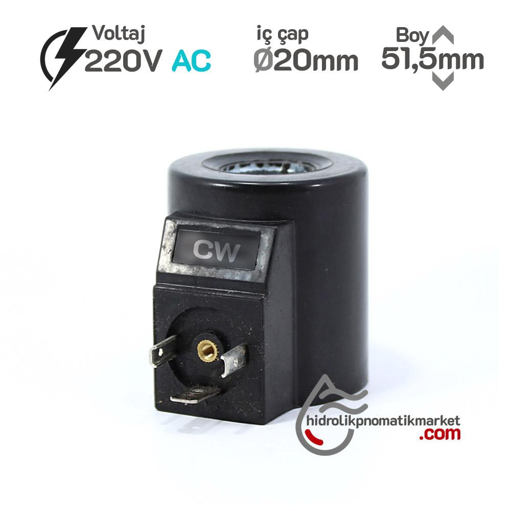 MRT 4467 220V AC Hidrolik Piston Valf Bobini İç Çap 20mm x Boy 51,5mm - DIN 43650 yuken