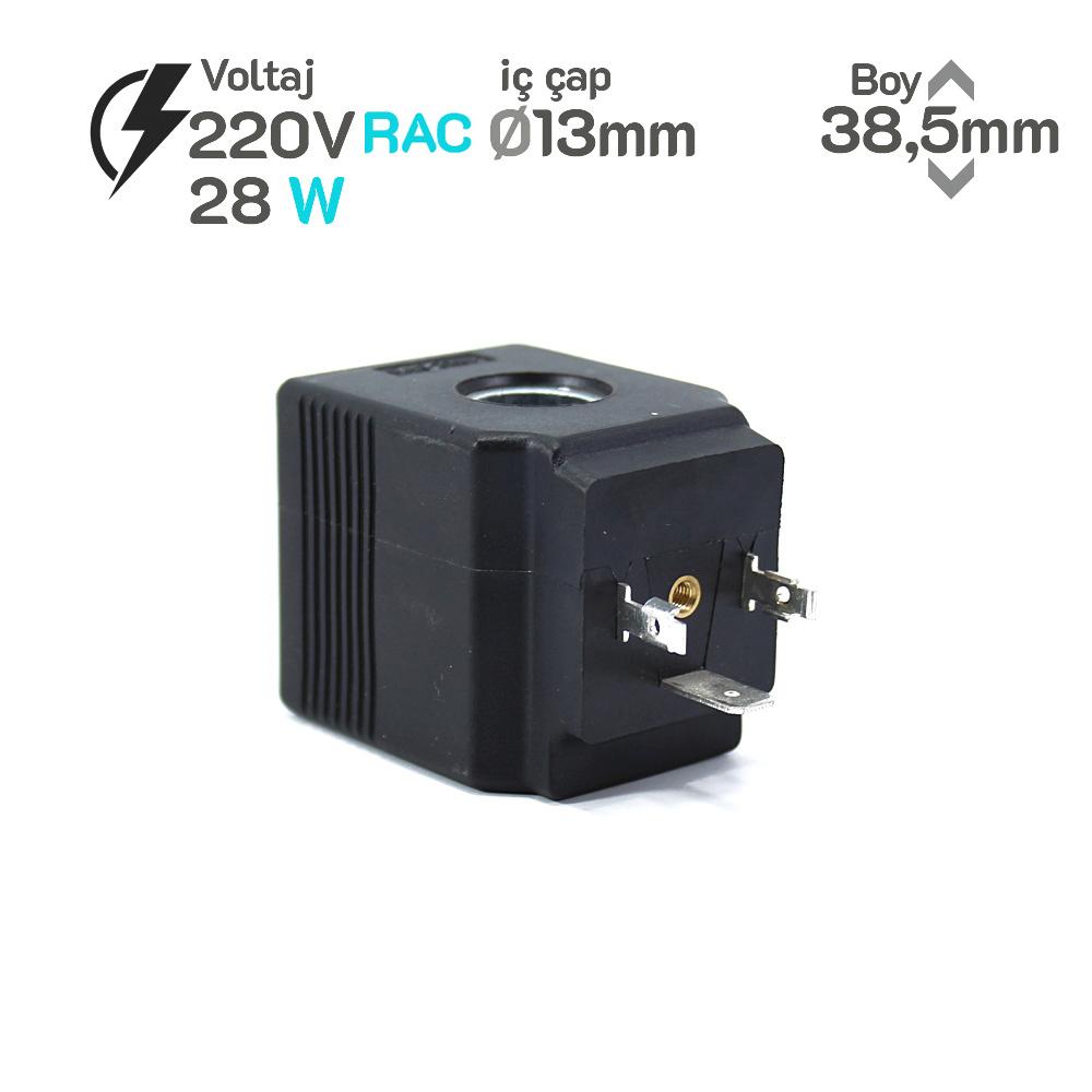 MRT 2008 220V RAC Hidrolik Bobin İç Çap 13mm x Boy 38,5mm - DIN 43650 28 w
