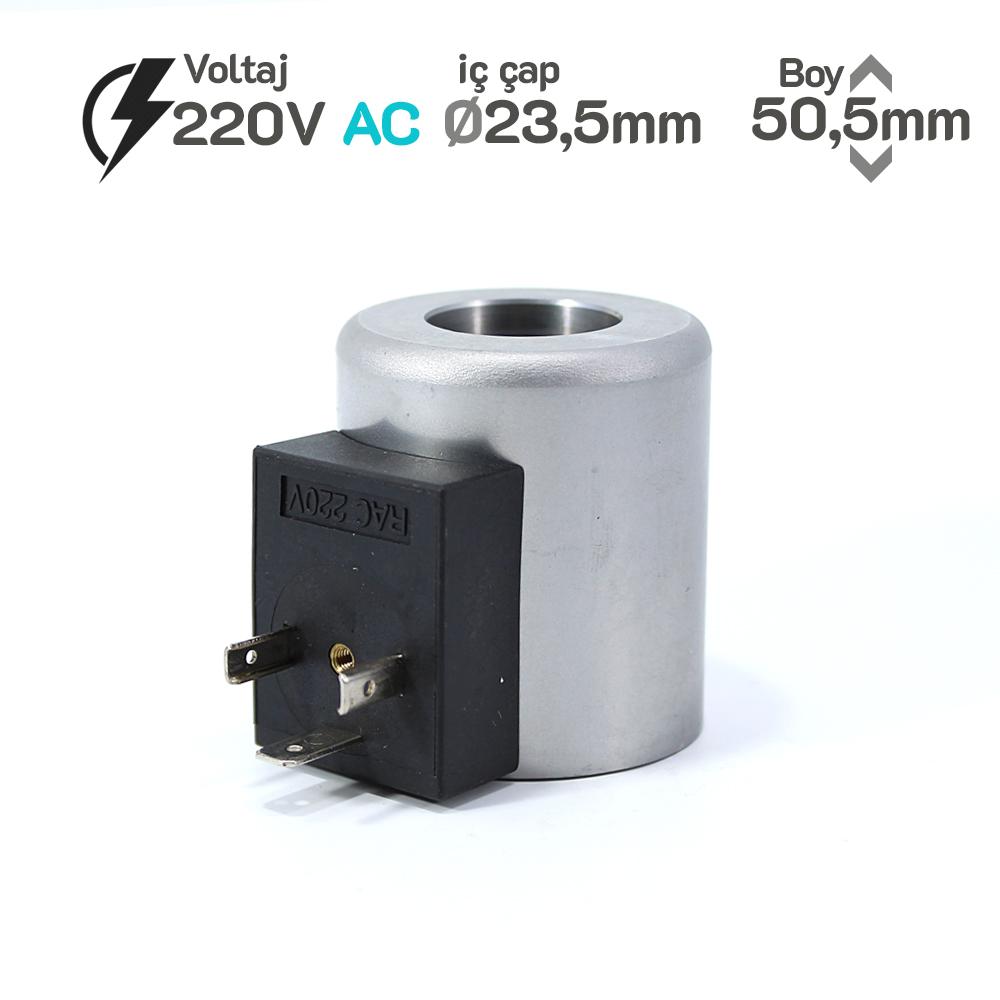 MRT 2020-1 220V RAC Hidrolik Valf Bobini İç Çap 23,2mm x Boy 50,5mm - DIN 43650
