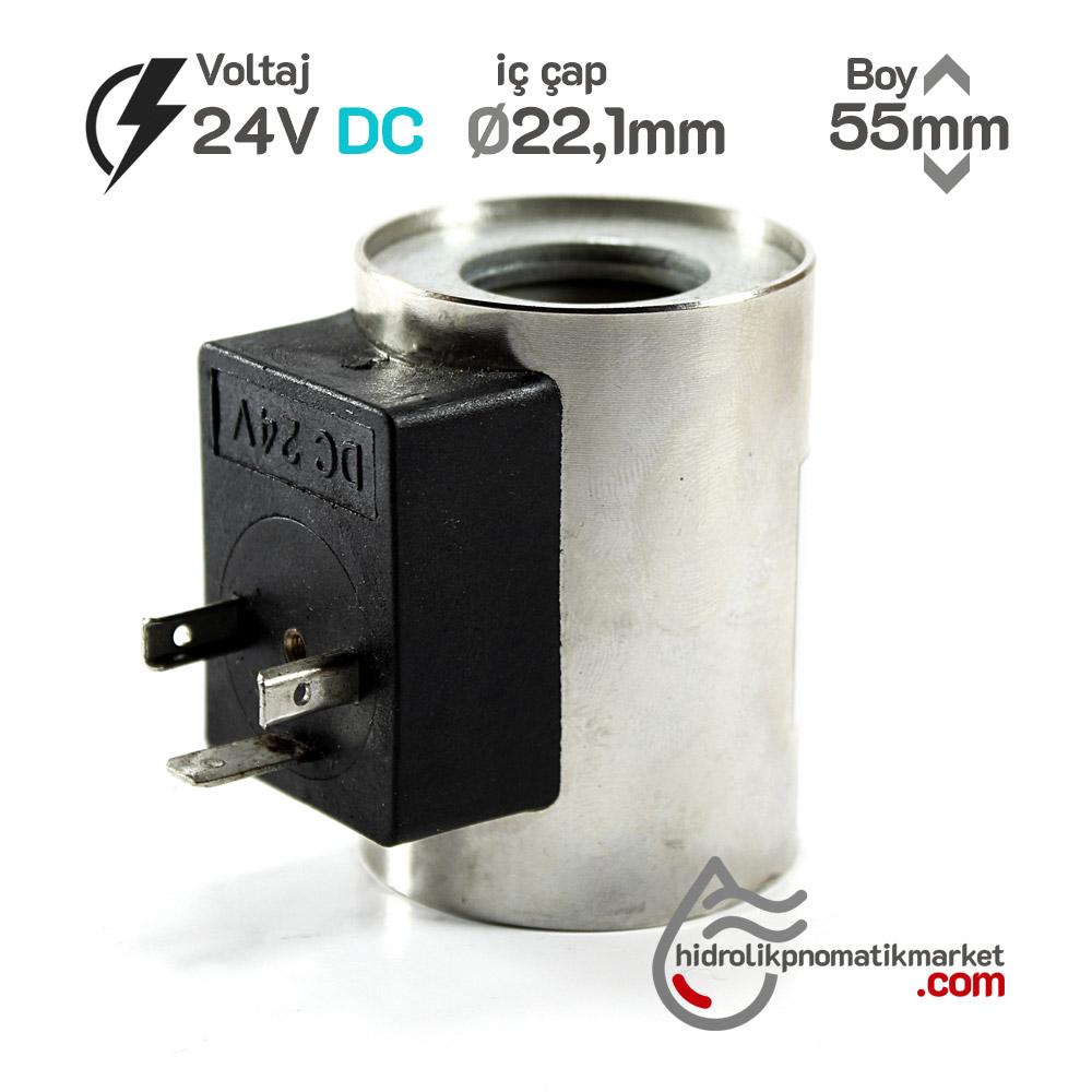 MRT 4334 24V DC Hidrolik Valf Bobini İç Çap 22,1mm x Boy 55mm - DIN 43650
