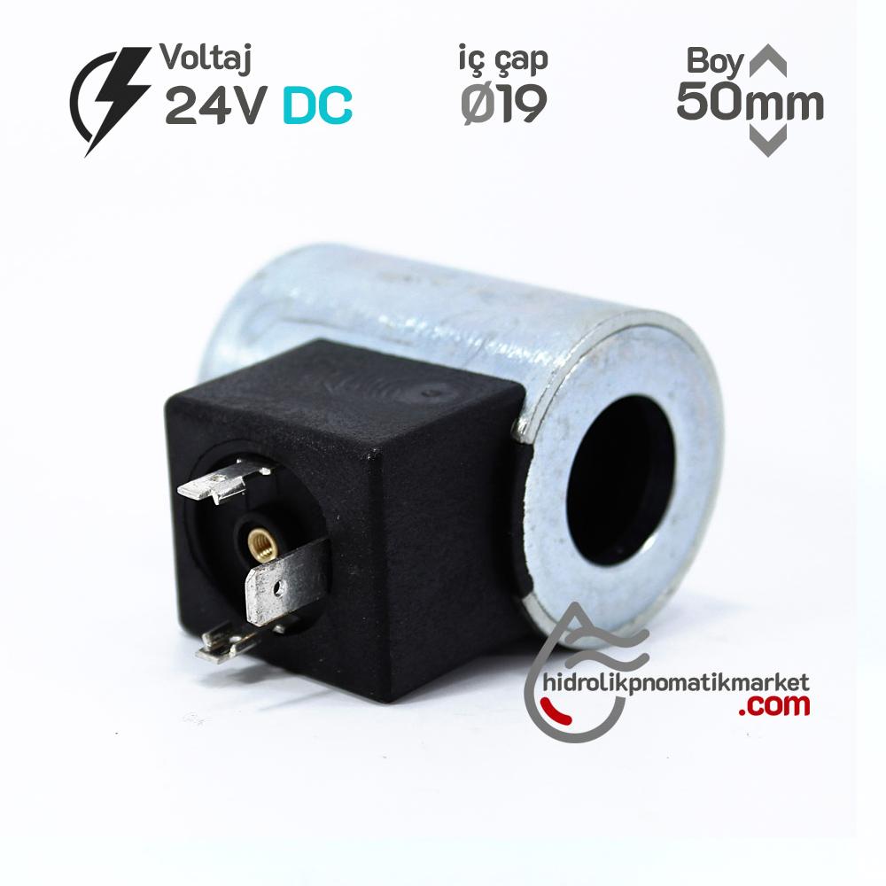 MRT 4369 24V DC Hidrolik Valf Bobini İç Çap 19mm x Boy 50mm - DIN 43650 argo-hytos