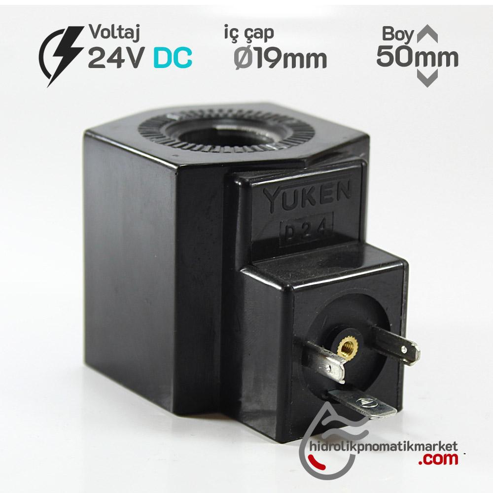 MRT 4395 24V DC Hidrolik Valf Bobini İç Çap 19mm x Boy 50mm - DIN 43650