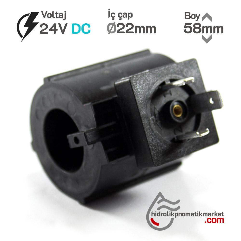 MRT 4455 24V DC Selenoid Valf Bobini İç Çap 22mm x Boy 58mm - Soketli