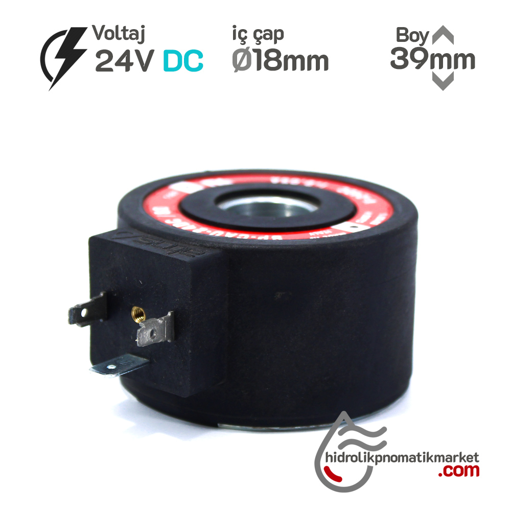 MRT 4461 24V DC Hidrolik Valf Bobini İç Çap 18mm x Boy 39mm - DIN 43650  NG10