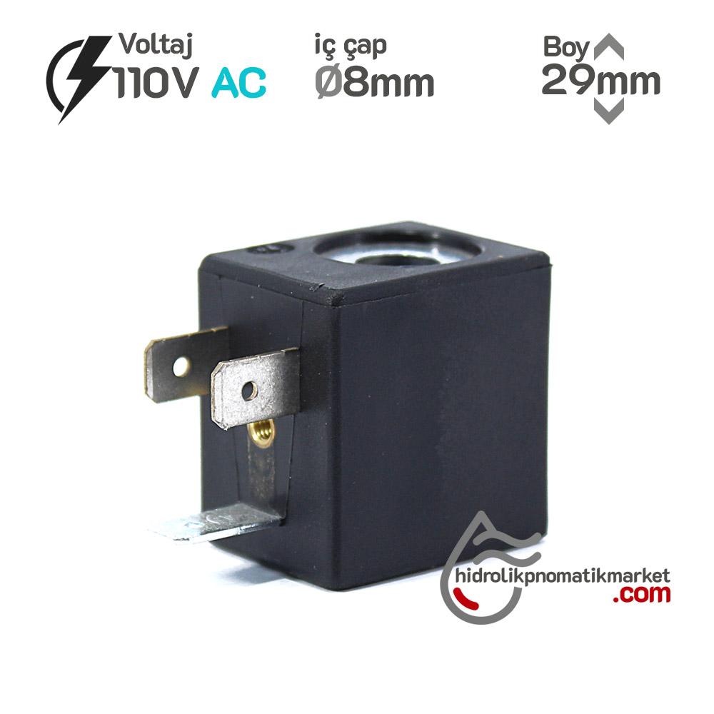 MRT4003-1 Pnömatik Valf Bobin 110V AC İç Çap 8mm x Boy 29mm - DIN 43650 Soket Bobin