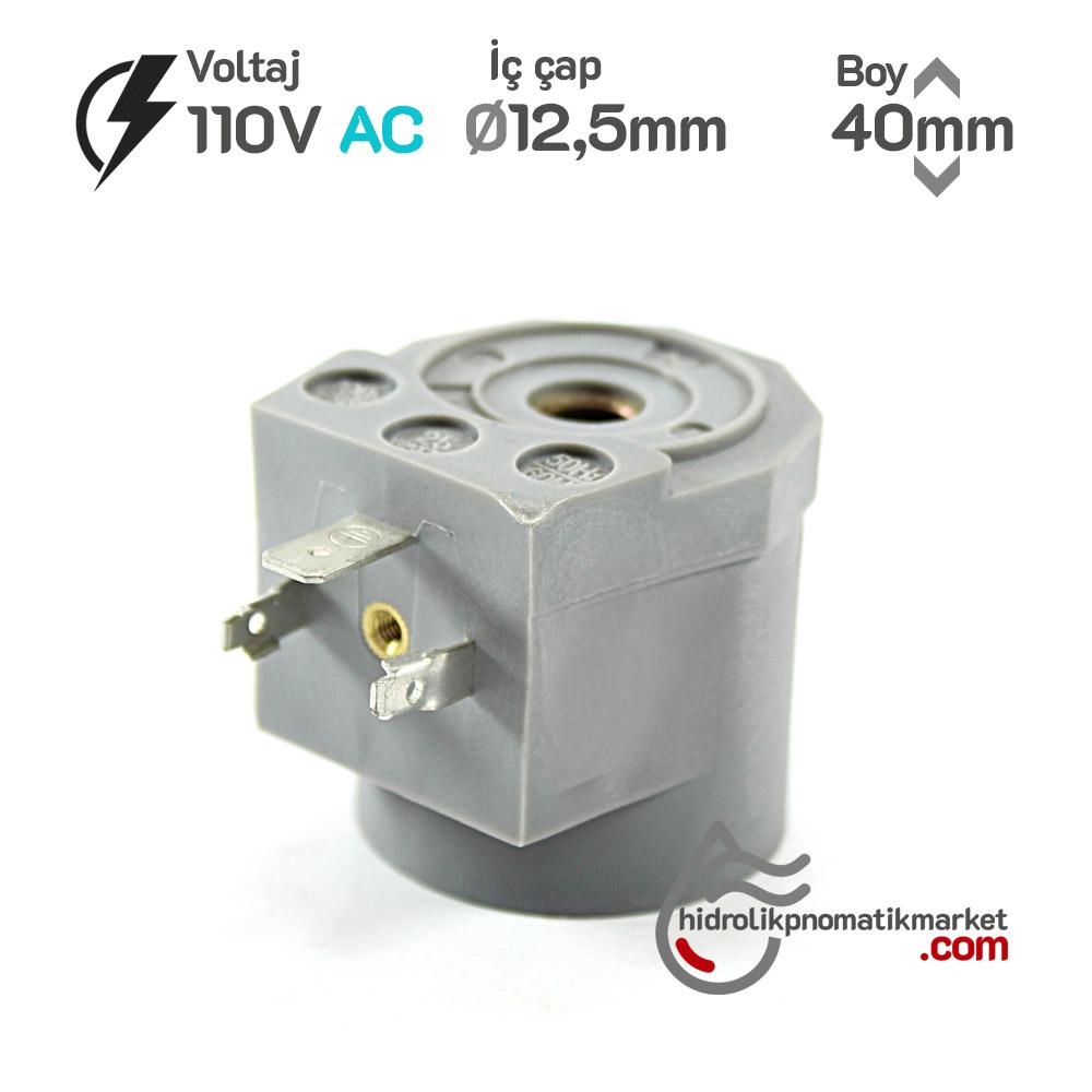 MRT4011 Pnömatik Valf Ventil Bobin 110V AC İç Çap 12,5mm x Boy 40mm - DIN 43650 Soket Bobin
