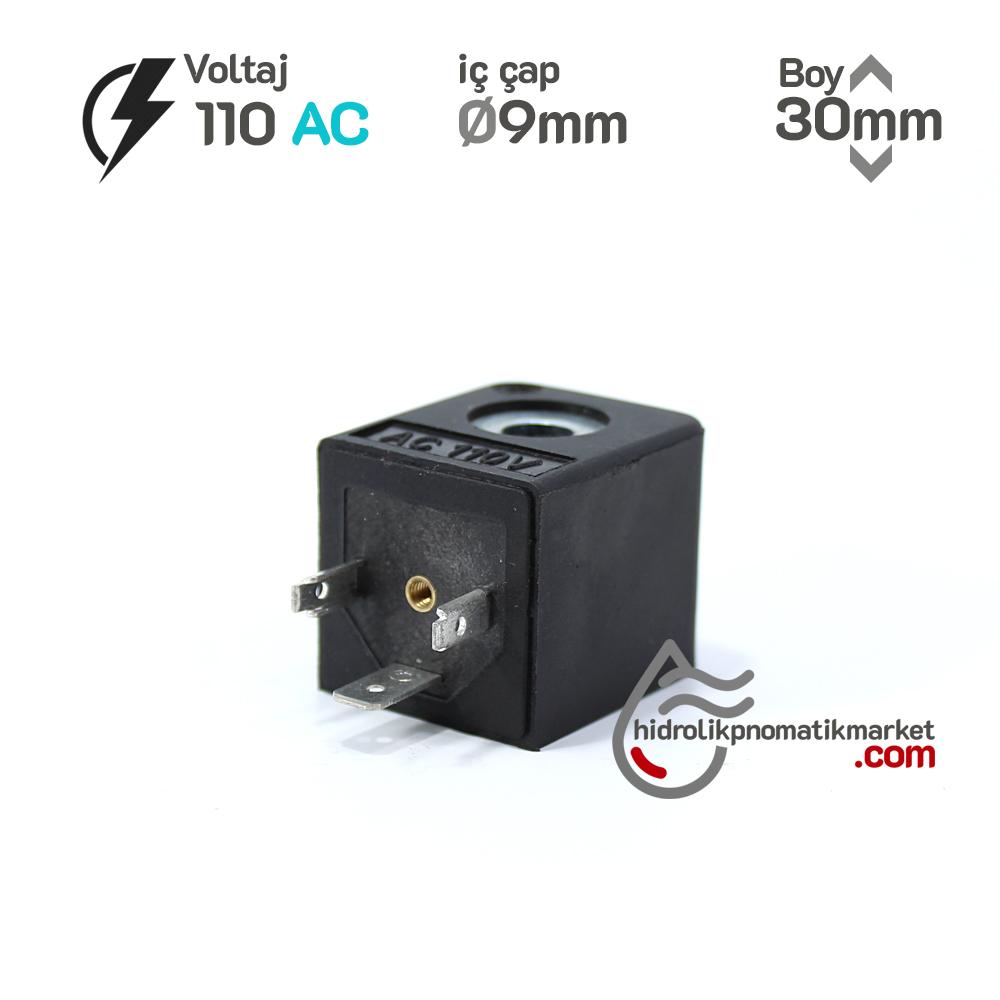 MRT4013 Pnömatik Valf Bobin 110V AC İç Çap 9mm x Boy 30mm - DIN 43650 Soket Bobin Rexroth bobin