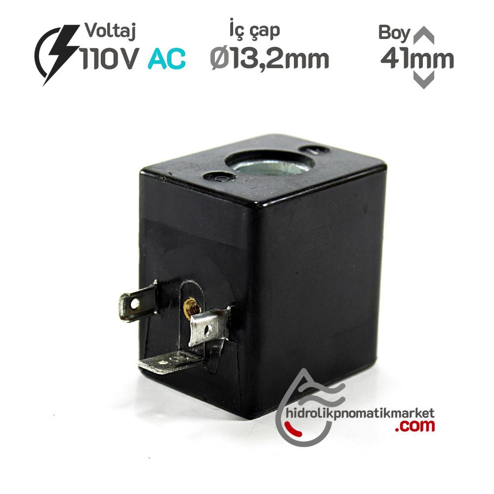 MRT4042 Pnömatik Valf Ventil Bobin 110V AC İç Çap 13,2mm x Boy 41mm - DIN 43650 Soket Bobin