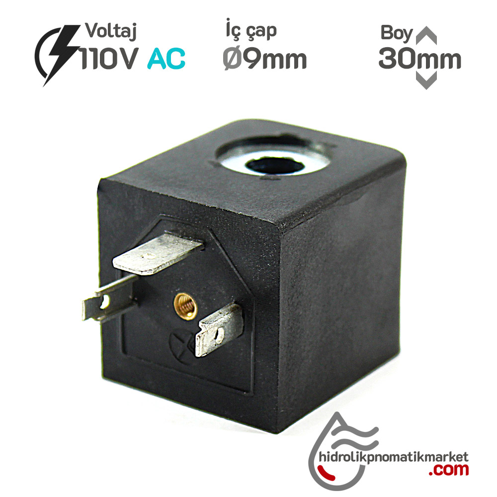 MRT4130 Pnömatik Hava Ventil Valf Bobini 110V AC İç Çap 9mm x Boy 30mm - DIN 43650 Soket Bobin