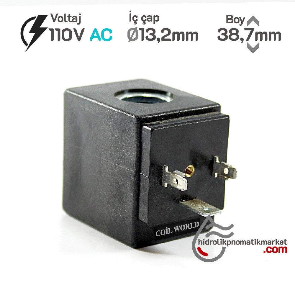 MRT 4393 110V AC Pnömatik Valf Bobini İç Çap 13,2mm x Boy 38,7mm - DIN 43650