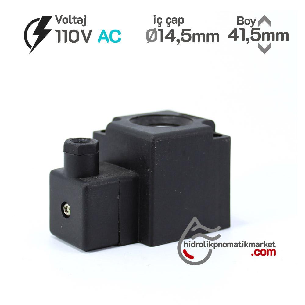 MRT4466 Pnömatik Valf Bobin 110V AC İç Çap 14,5mm x Boy 41,5mm - DIN 43650 Soket Bobin