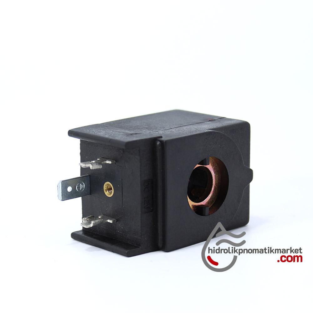 MRT4001 Pnömatik Hava Ventil Valf Bobini 12V DC İç Çap 11mm x Boy 35,5mm - DIN 43650 Soket Bobin